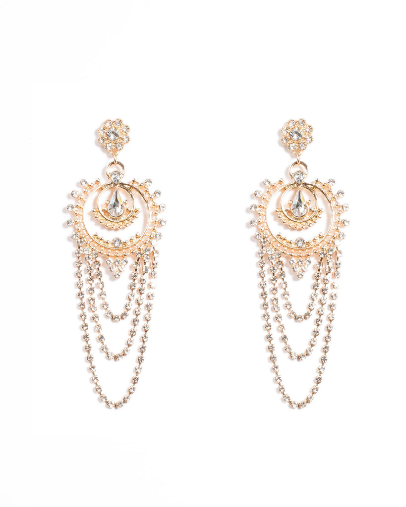 Diamante Drop Stone Earrings
