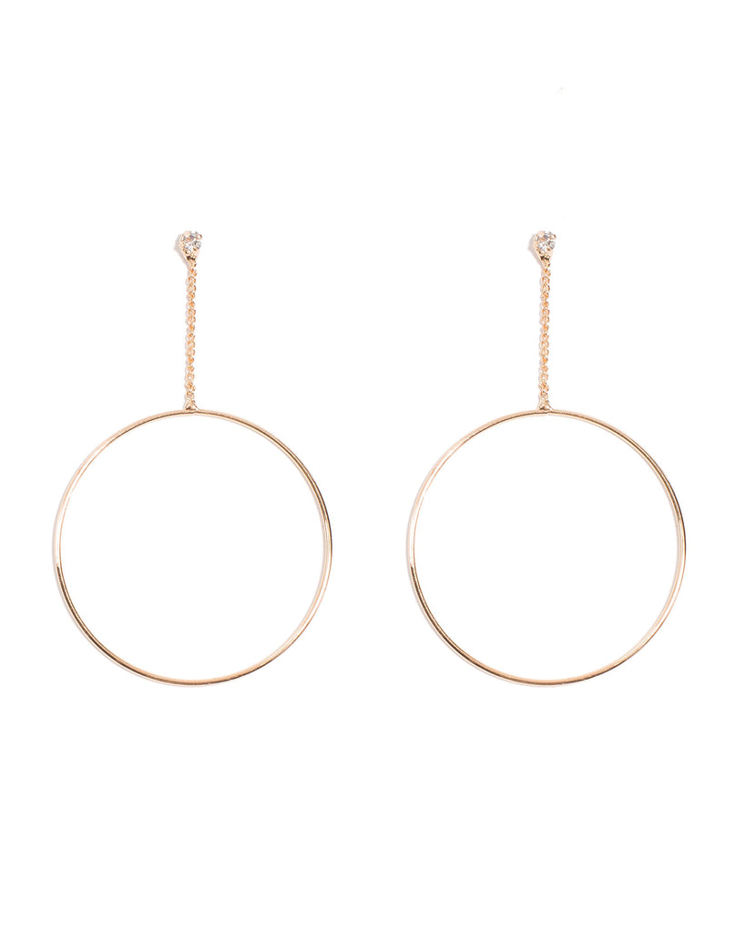 Dia Drop Hoop Earrings