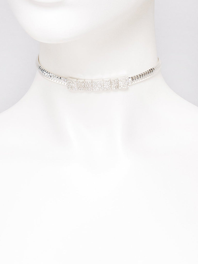 Pave Stone Chain Choker Necklace
