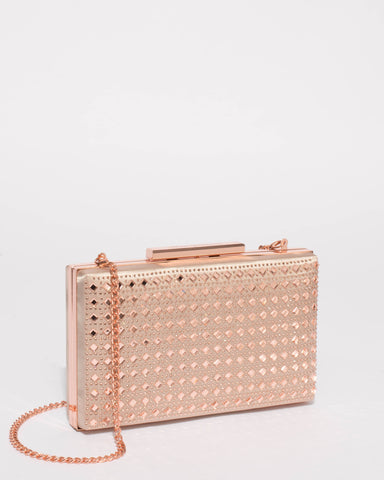 Rose Gold Bridal Crystal Clutch Bag