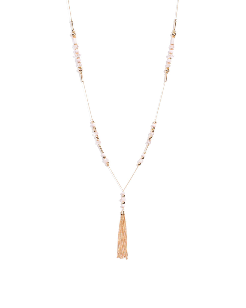 Beaded Stationed Tassel Necklace