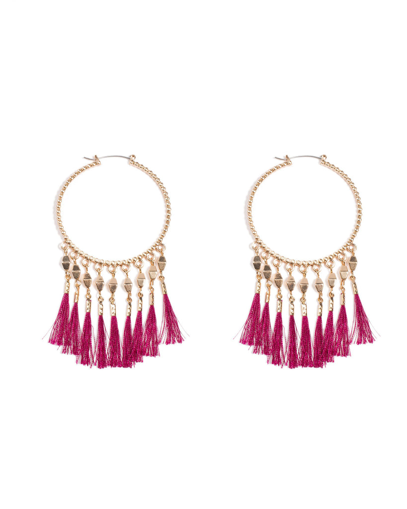 5cm Hoop Tassel Earrings