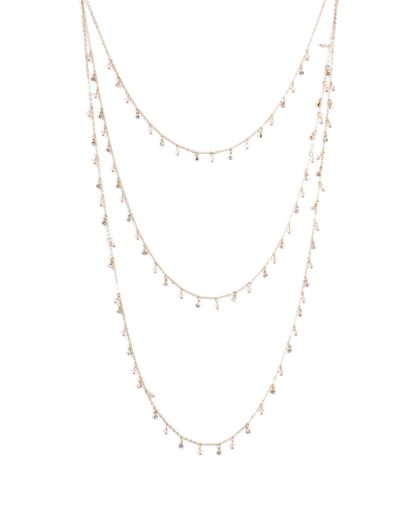 Fine Bead On Multi Row Chain Necklace