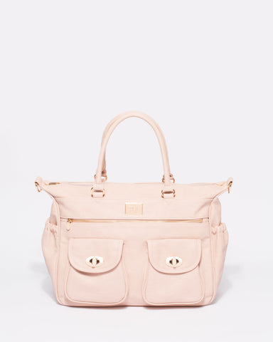 Pink Panel Baby Travel Bag With Gold Tone Hardware