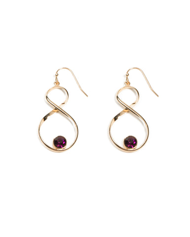 Round Stone Twist Drop Earrings
