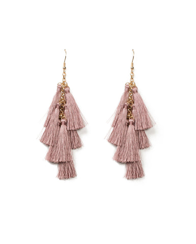 Multi Tassel Layered Statement Earrings