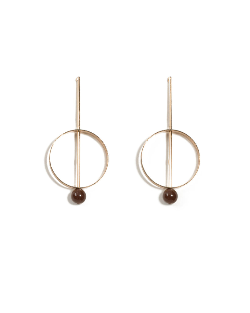 Ball Bar Circle Drop Earrings