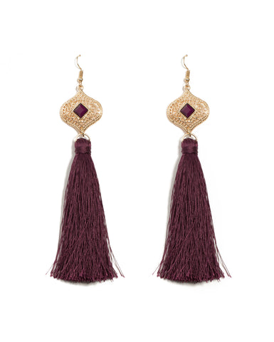 Filigree Square Stone Tassel Statement Earrings