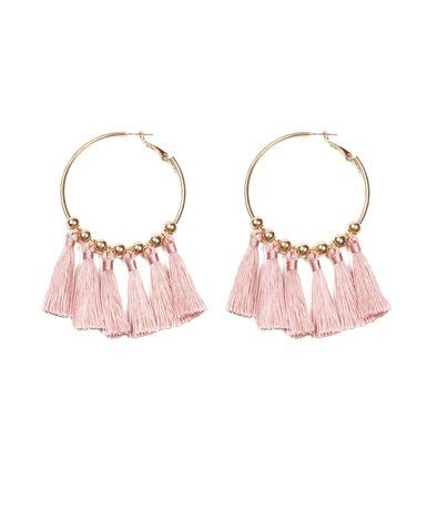 Multi Tassel Hoop Earrings