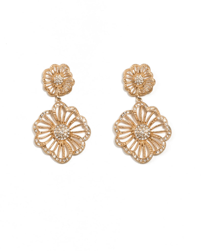 Diamante Flower Drop Earrings