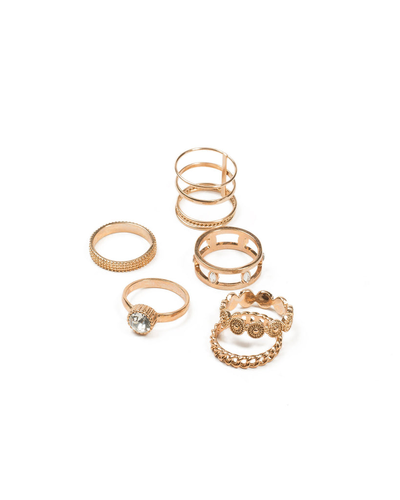 Coin Patterned 6 Pack Rings - Medium