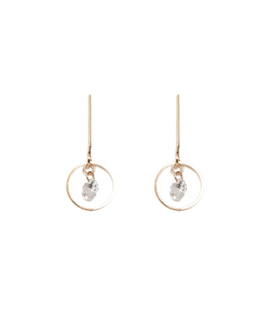 Cubic Zirconia Diamante Stone In Circle Drop Earrings
