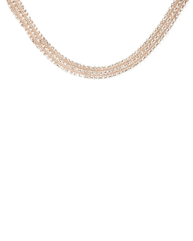 Crystal Rose Gold Tone Diamante Row Glam Necklace