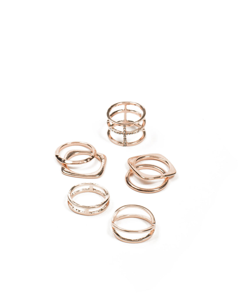 Diamante Cross Mixed Ring Pack - Small
