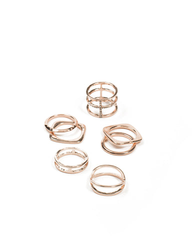 Diamante Cross Mixed Ring Pack - Large