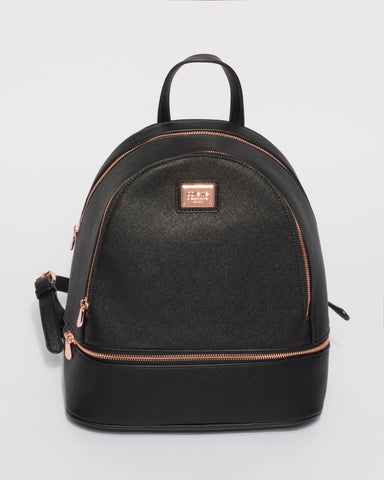 Bridget Black Large Rose Gold Hardware Backpack