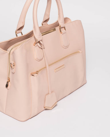 Pink Saffiano Spencer Tech Tote Bag With Gold Hardware