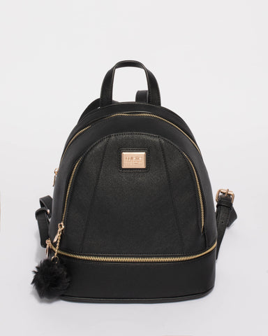 Black Bridget Medium Backpack With Gold Hardware