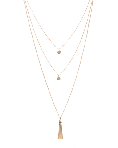 Disc Tassel 3 Row Necklace
