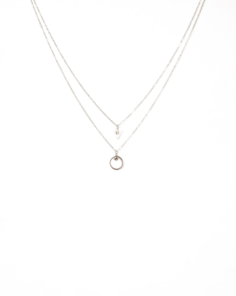 Diamante Stone Shapes 2 Row Necklace