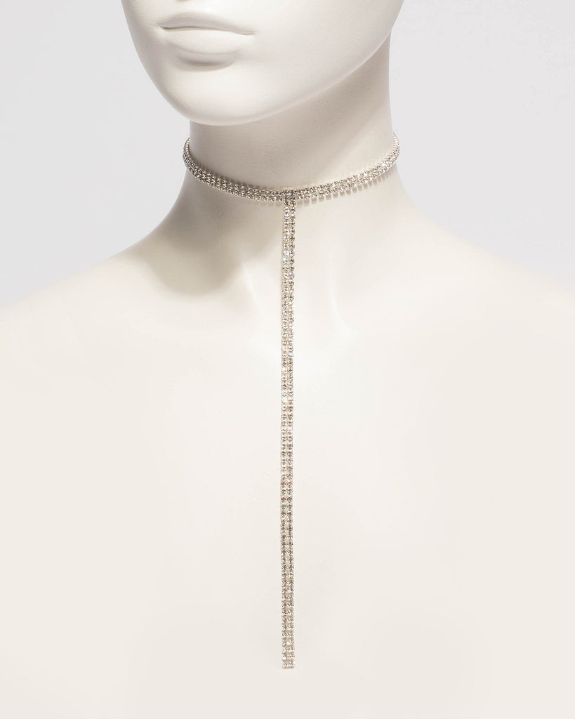 Diamante Stone Choker Lariat Necklace