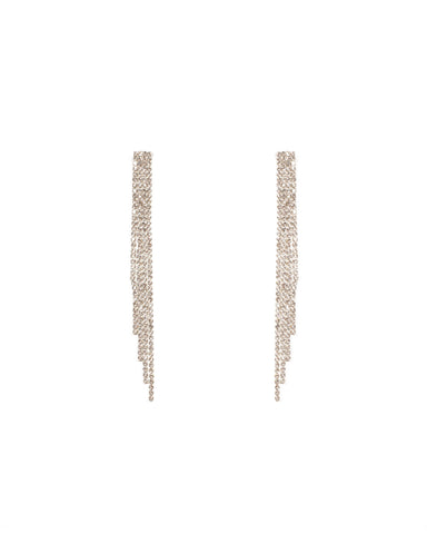 Crystal Silver Tone Fine Diamante Tassel Earrings