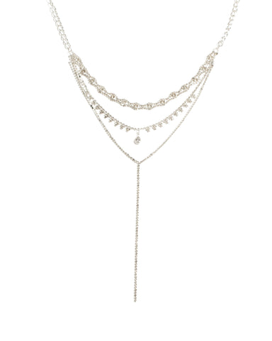 Silver Tone Diamante Cup Chain Lariat Choker Necklace