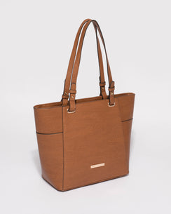 Tan Smooth Carissa Tote Bag With Gold Hardware