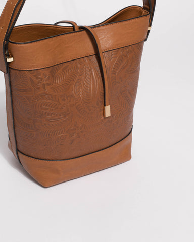 Emmie Tan Embossed Bucket Tote Bag