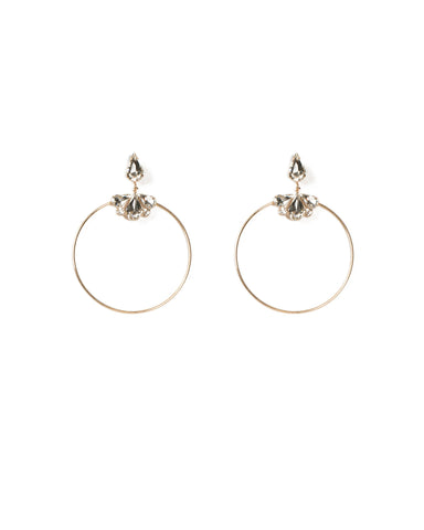 Pear Stone Circle Drop Earrings