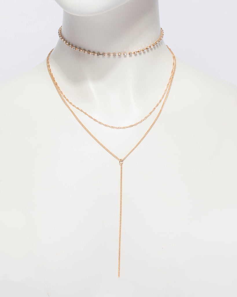 Diamante Cup Chain Choker Lariat Necklace