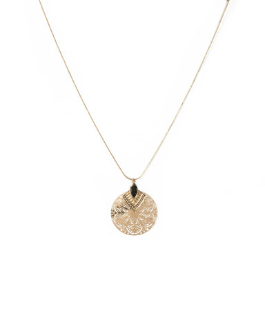 Navette Stone Filigree Circle Necklace