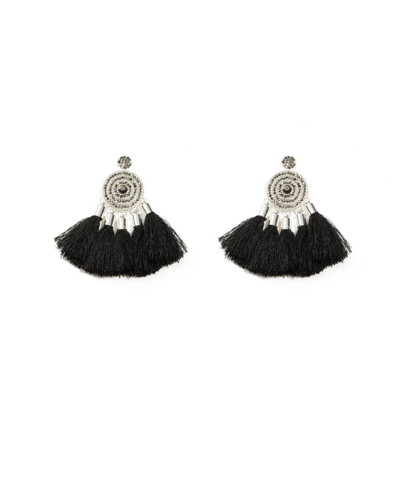 Diamante Pave Circle Tassel Earrings