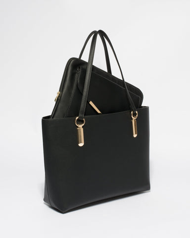 Black Smooth Angelina Tote Bag With Gold Hardware
