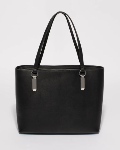 Black Angelina Tote Bag With Silver Hardware