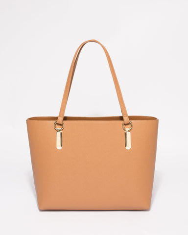 Caramel Saffiano Angelina Tote Bag With Gold Hardware