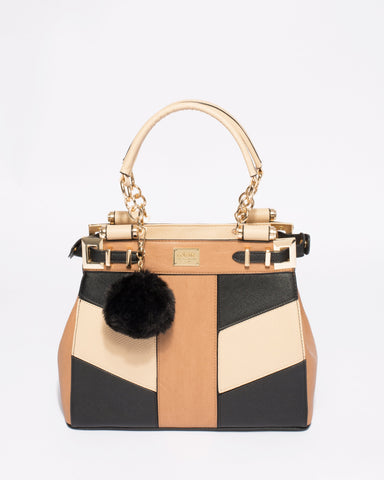 Multi Colour Textured Nadine Pom Pom Tote Bag With Gold Hardware