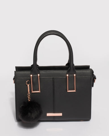 Black Smooth Stef Pom Pom Mini Bag With Rose Gold Hardware
