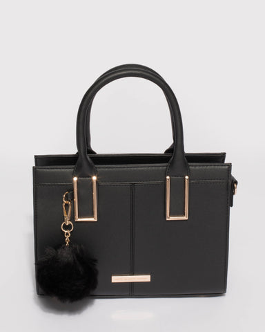 Black Smooth Stef Pom Pom Mini Bag With Gold Hardware