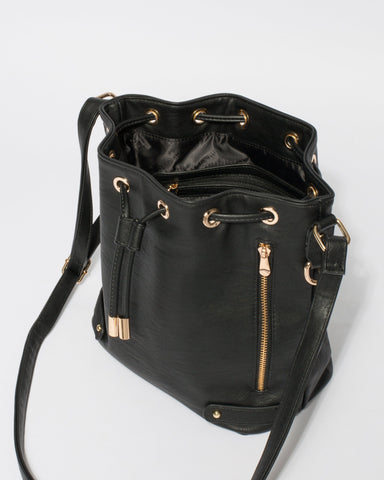 Black Giselle Tab Pouch Bag With Gold Hardware