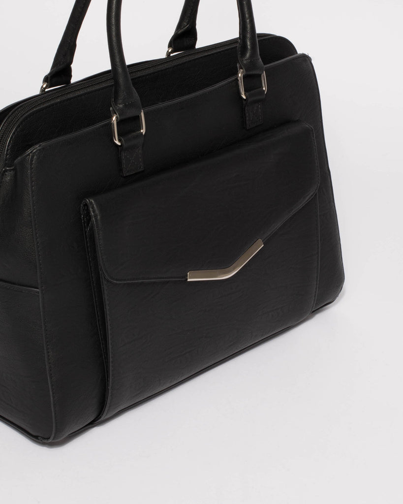 Black Smooth Taylor Tech Tote With Silver Hardware