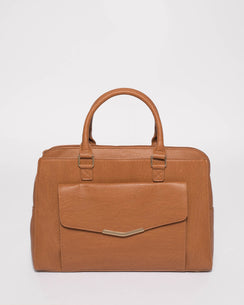 Tan Smooth Taylor Tech Tote Bag With Gold Hardware