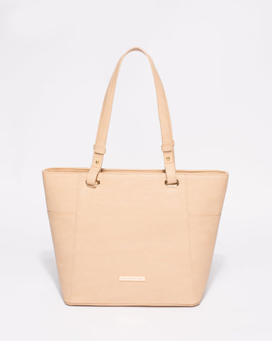 Nude Smooth Carissa Tote Bag With Gold Hardware