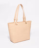 Beige Smooth Carissa Tote Bag With Gold Hardware