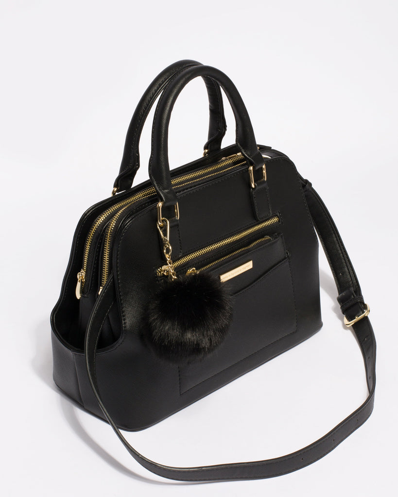 Black Saffiano Harriet Double Tote Bag With Gold Hardware