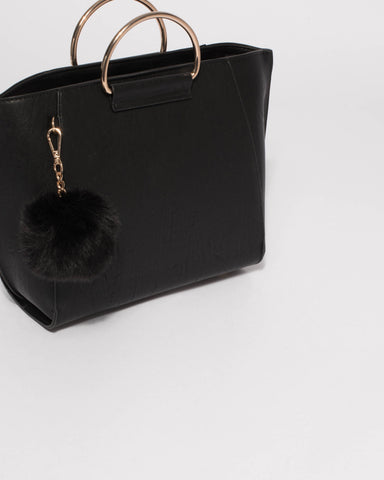 Black Macey Handle Tote Bag