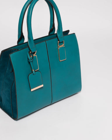 Teal Diana Tag Tote Bag