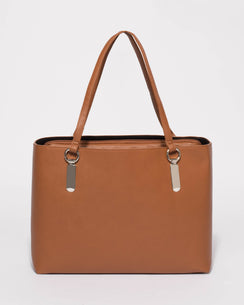 Tan Angelina Tote Bag With Silver Hardware