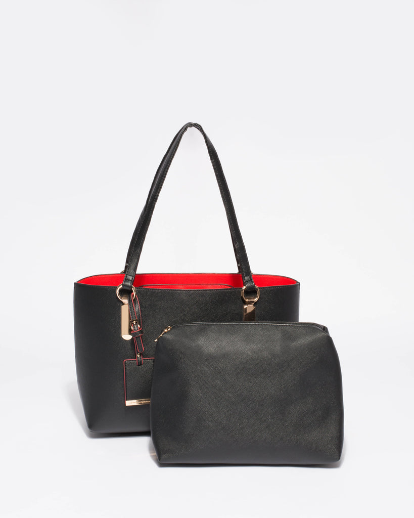 Black Angelina Medium Tote With Gold Hardware
