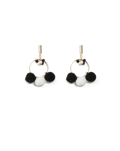 Drop Ring Pom-Pom Earrings